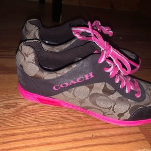 Pink and brown women's coach sneakers size 7